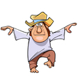 cartoon man in a hat and bare feet standing vector image vector image