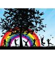 children chasing butterflies vector image