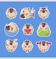 collection sheep stickers cute funny farm vector image