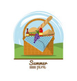 colorful logo summer picnic with outdoor landscape vector image vector image