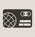 credit card icon with globe image in flat style vector image