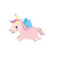 cute unicorn with horn and wings design vector image vector image