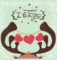 deer love and heart vector image