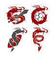 dragon sword soccer football logo design mascot vector image