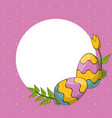easter day round frame vector image