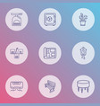 furniture icons line style set with air vector image vector image