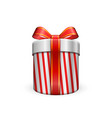 gift box 3d red ribbon bow isolated white vector image vector image
