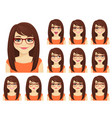 girl expressions set vector image