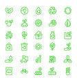 green eco earth icon set outline vector image