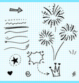 hand drawn set elements arrow heart love star vector image vector image