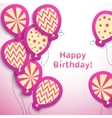 Happy birthday retro postcard with pattern vector image vector image