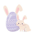 happy easter day cute rabbit and egg with ears vector image