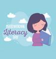 international literacy day happy girl reading vector image vector image