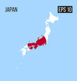 japan map border with flag eps10 vector image
