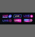 live streaming icon set neon style vector image