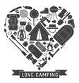 Love Camping Outline Concept Heart vector image vector image