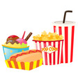 lunch set with hotdog and popcorn vector image vector image