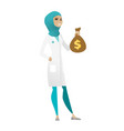 muslim doctor holding a money bag vector image vector image