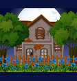 old brick house at night time vector image vector image