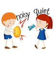 Opposite adjectives noisy and quiet vector image vector image