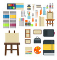 painting art tools palette icon set flat vector image vector image