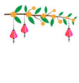 pink chinese paper lanterns hanging on twigs vector image vector image