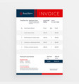 professional red invoice template design vector image vector image