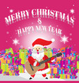 santa play guitar merry christmas pink vector image vector image
