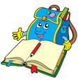 school bag reading book vector image vector image