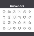 set 24 time and clock web icons in line style vector image vector image