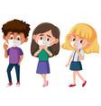 set different kids wearing mask cartoon vector image vector image