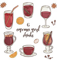 set of 6 isolated cartoon hand drawn aroma red vector image