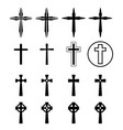 set of crucifix and cross silhouette in modern vector image vector image