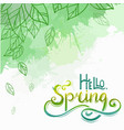 spring card with handwritten lettering vector image vector image