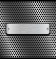 stainless steel brushed plate on blue metal vector image vector image