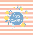 summer greeting card with fresh lemons vector image vector image