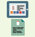Tablet in a horizontal state with an open Internet vector image vector image