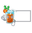 thumbs up with board character healthy carrot vector image vector image