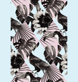 tropical black and white patchwork seamless vector image vector image
