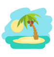 tropical island with palm tree vector image vector image