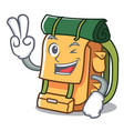 two finger backpack character cartoon style vector image