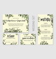 wedding invitation floral invite thank you rsvp vector image vector image
