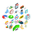 working hour icons set isometric style vector image vector image