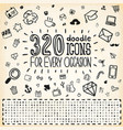 320 Doodle Icons Universal Set vector image