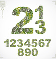 Set of ornate numbers flower-patterned numeration vector image