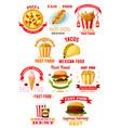 fast food restaurant lunch meal symbol set vector image