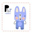 alphabet letter r for rabbit for kids vector image