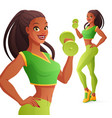 athletic woman with dumbbell vector image vector image