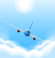 Back of airplane flying in the sky vector image vector image