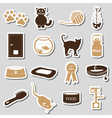 cats pets items simple stickers set eps10 vector image
